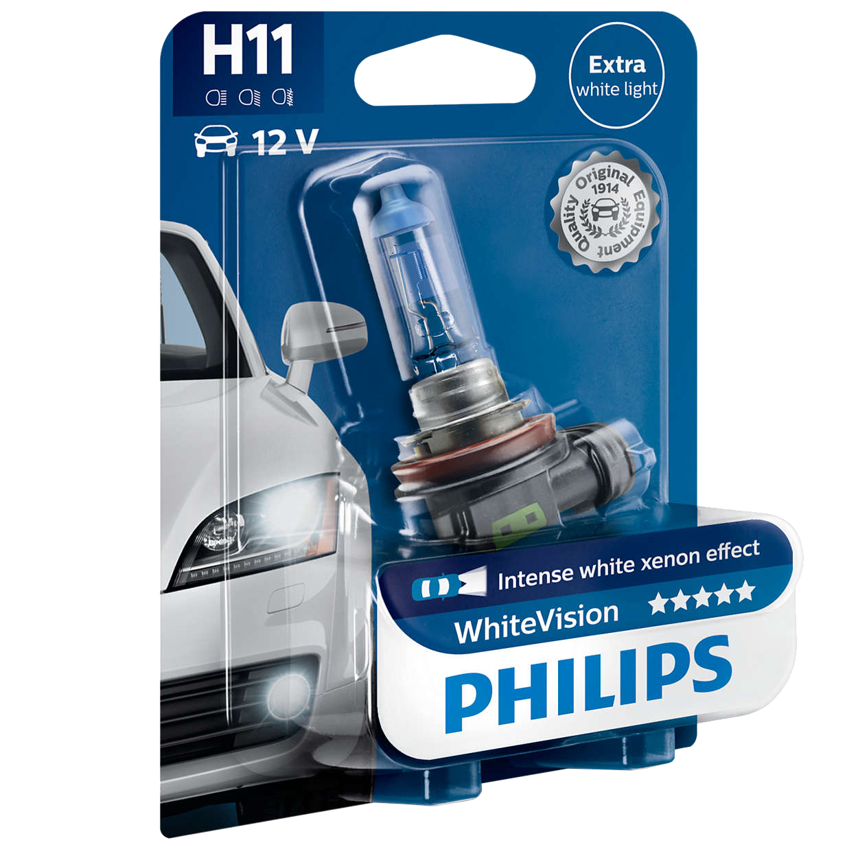 h11 philips white vision 12v 55w halogen bulb. Black Bedroom Furniture Sets. Home Design Ideas