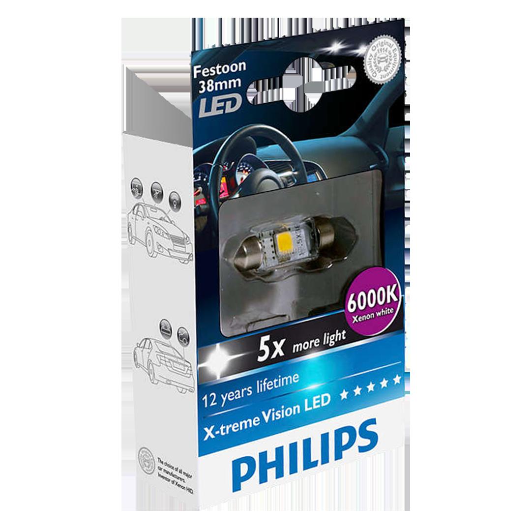 239 Philips X-treme Vision LED 12V 38mm Number Plate & Interior Festoon Bulb