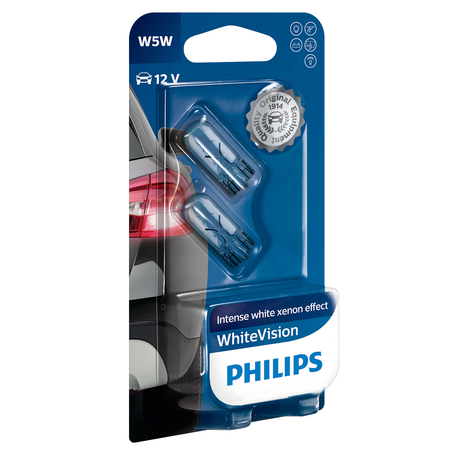 501 Philips White Vision Ultra 12v 5w W5w Wedge Bulbs Pair