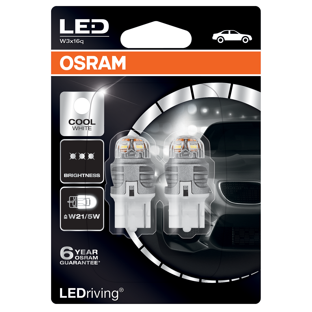 580 Osram Long Life LED Retrofit White 12V 7443 W21/5W Wedge Bulb