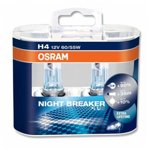 H4 OSRAM Night Breaker Plus +90% Upgrade Xenon Headlight Bulbs (Pack of 2)