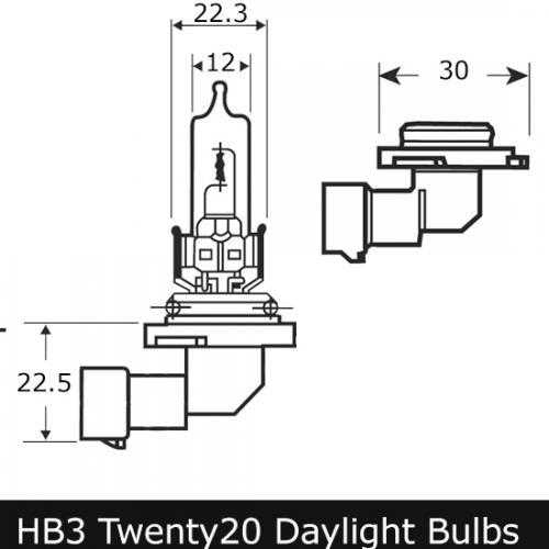 HB3 Twenty20 Daylight Upgrade Headlight Bulbs +120% (Pair)