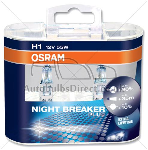 h1 osram night breaker plus 90 improved life upgrade. Black Bedroom Furniture Sets. Home Design Ideas