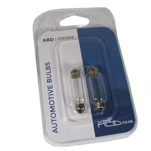 264 ABD Prime 12V 10W 42-44mm Number Plate & Interior Festoon Bulbs (Pair)