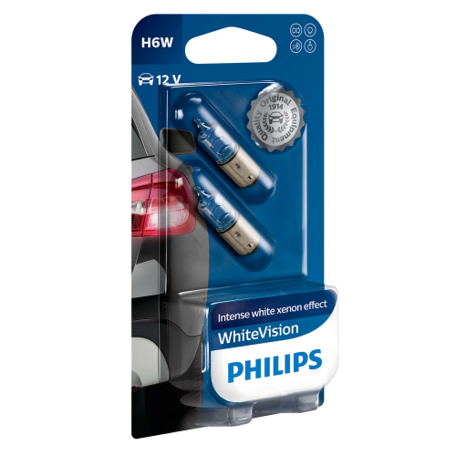 233 Philips White Vision 12V 4W T4W Bayonet Bulbs (Pair)