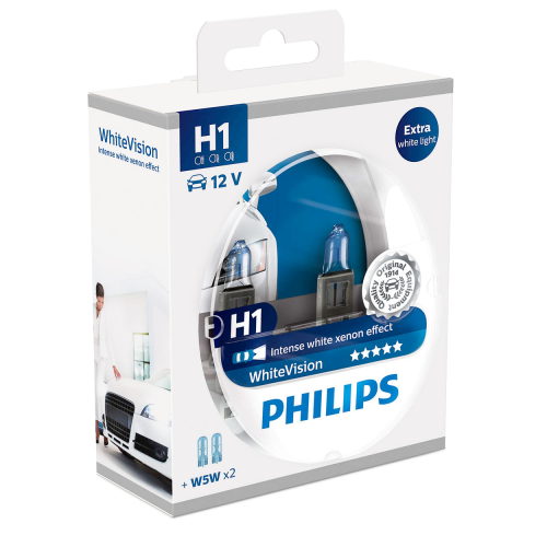 H1 Philips White Vision 12V 55W 448 Halogen Bulbs (Pair)