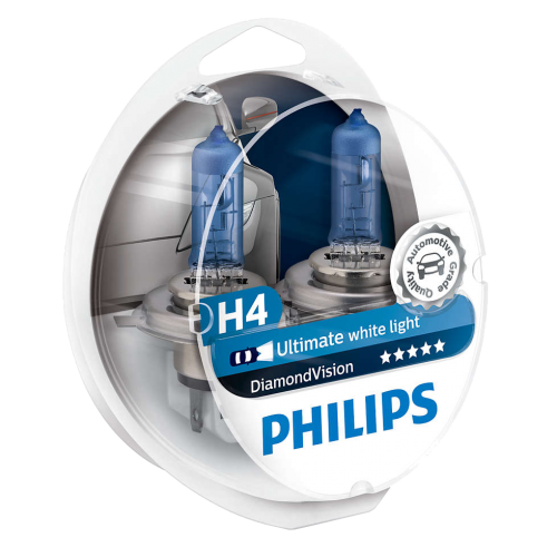 H4 Philips Diamond Vision 12V 60/55W 472 Halogen Bulbs (Pair)