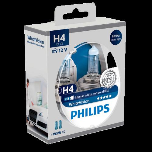 H4 Philips White Vision 12V 60/55W 472 Halogen Bulbs (Pair)