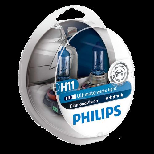 H11 Philips Diamond Vision 12V 55W Halogen Bulbs (Pair)