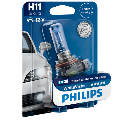 H11 Philips White Vision 12V 55W Halogen Bulb