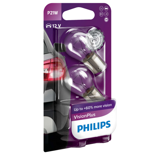 382 Philips Vision Plus 12V 21W P21W Bayonet Bulbs (Pair)