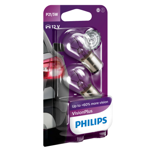 380 Philips Vision Plus 12V 21/5W P21/5W Bayonet Bulbs (Pair)