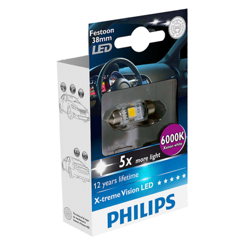 239 Philips X-treme Vision LED 12V 38mm Number Plate & Interior Festoon Bulb