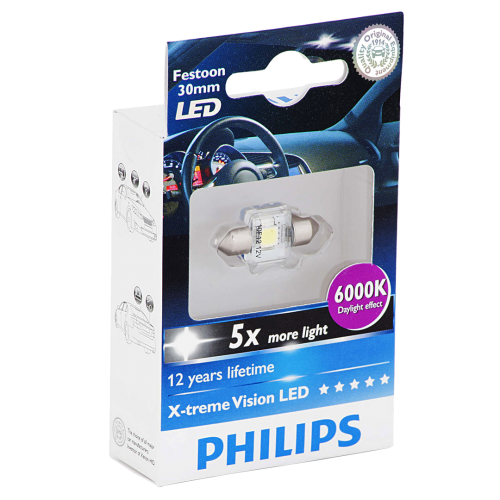 269 Philips X-treme Vision LED 12V 30mm Number Plate & Interior Festoon Bulb