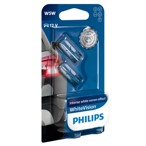 501 philips white vision ultra 12v 5w w5w wedge bulbs pair. Black Bedroom Furniture Sets. Home Design Ideas