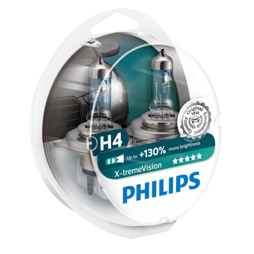 H4 Philips X-treme Vision +130% 12V 60/55W 472 Halogen Bulbs (Pair)