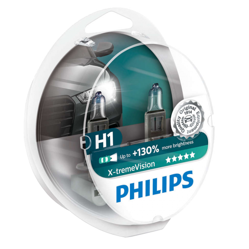 H1 Philips X-treme Vision +130% 12V 55W 448 Halogen Bulbs (Pair)