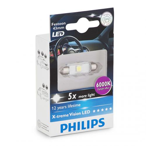 264 Philips X-treme Vision LED 12V 43mm Number Plate & Interior Festoon Bulb