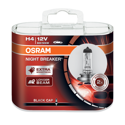 h4 osram night breaker black cap 12v 60 55w 472 halogen. Black Bedroom Furniture Sets. Home Design Ideas