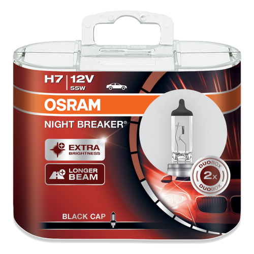 H7 OSRAM Night Breaker Black Cap 12V 55W 477 Halogen Bulbs (Pair)