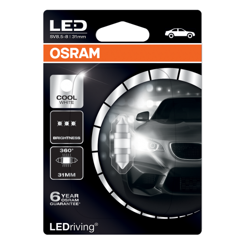 269 Osram Long Life LED Retrofit Cool White 12V 31mm Festoon Bulb