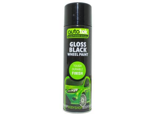Autotek Car Alloy Gloss Black Wheel Spray Paint - 500ml