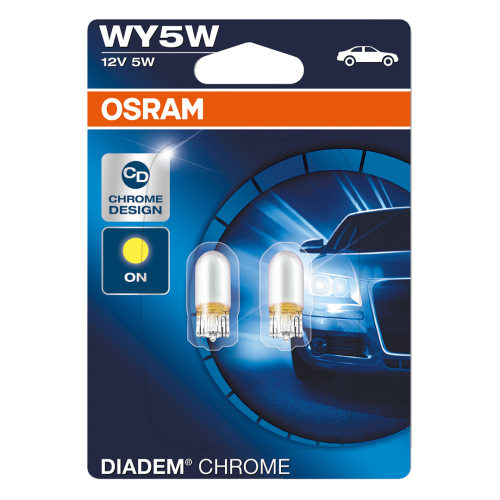 501 OSRAM Amber Diadem Chrome 12V 5W WY5W Side Indicator Bulbs (Pair)