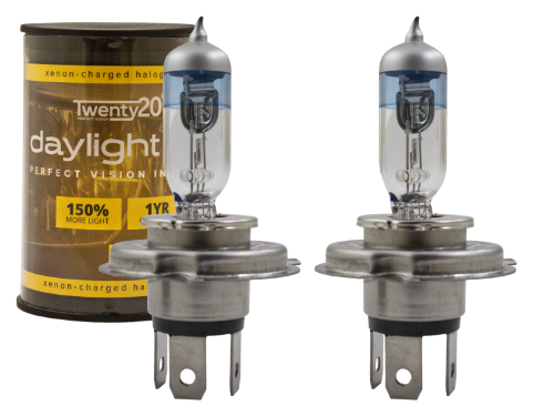 H4 Twenty20 Daylight +150% 12V 60/55W 472 Halogen Bulbs