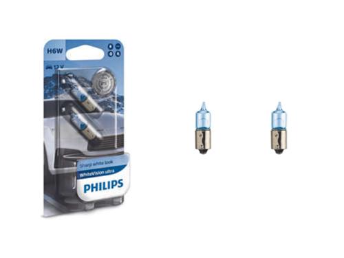 H6W Philips WhiteVision 12V 6W (434) Bayonet Bulbs (Pair)