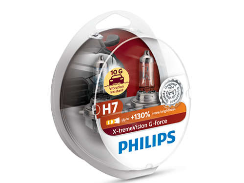H7 Philips X-Treme Vision G-Force 130% Headlight Bulbs (Pair)