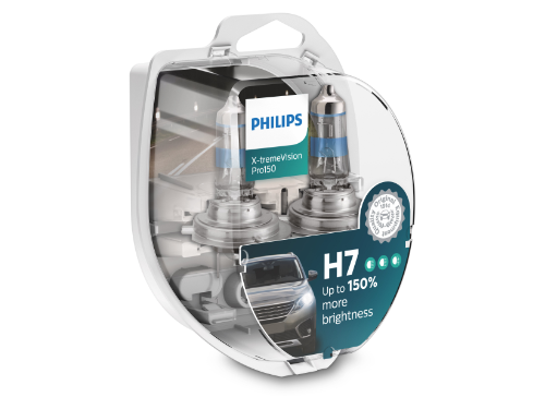 H7 Philips X-tremeVision Pro150 12V 55W Halogen Bulbs (Pair)