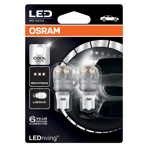 955 Osram Long Life LED Retrofit White 12V W16W Wedge Bulb