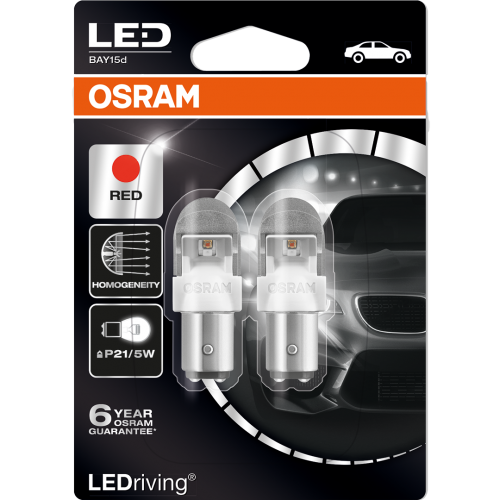 380 Osram Long Life LED Retrofit Red 12V P21/5W Bayonet Bulb