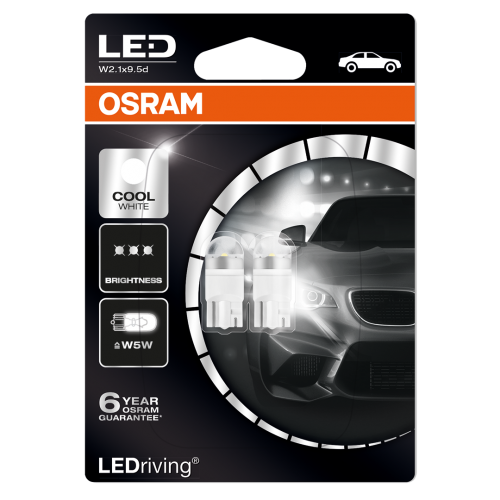 501 OSRAM Long Life LED 12V W5W Wedge Bulbs (Pair)