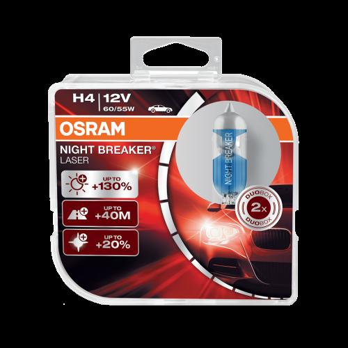 H4 OSRAM Night Breaker Laser +130% 12V 60/55W 472 Halogen Bulbs (Pair)