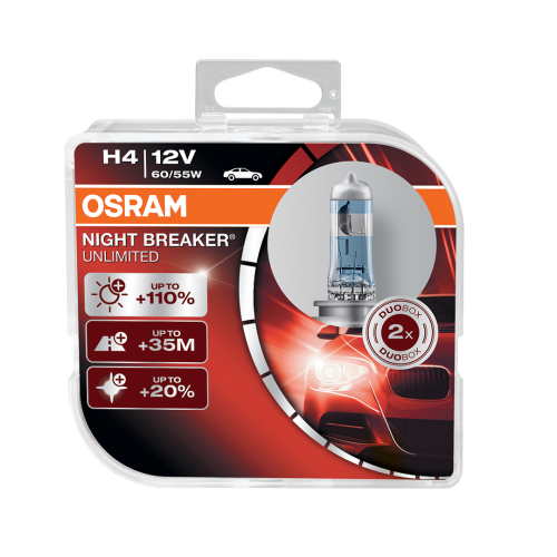 H4 OSRAM Night Breaker Unlimited +110% 12V 60/55W 472 Halogen Bulbs (Pair)