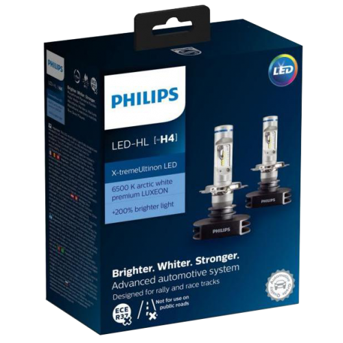 H4 Philips Ultinon LED 12V 60/55W Headlight Bulbs (Pair)