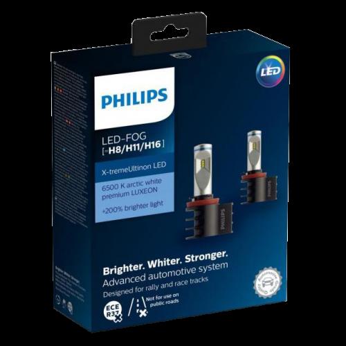 H11/H8/H16 Philips Ultinon LED 12V 55W Foglight Bulbs (Pair)