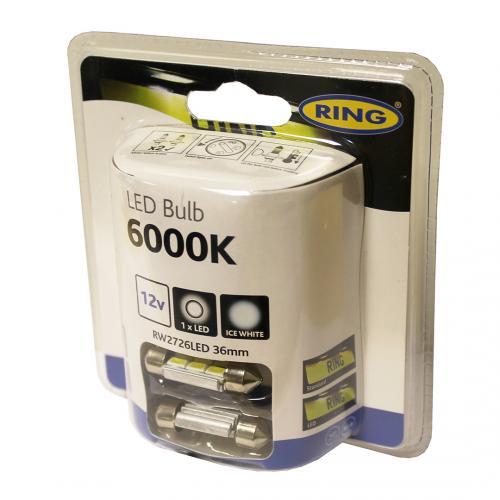 272 Ring 6 LED 12V 36mm Number Plate & Interior Ice White Festoon Bulbs