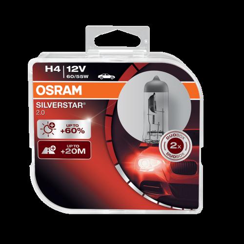 H4 OSRAM Silverstar 2.0 12V 60/55W 472 Halogen Bulbs (Pair)