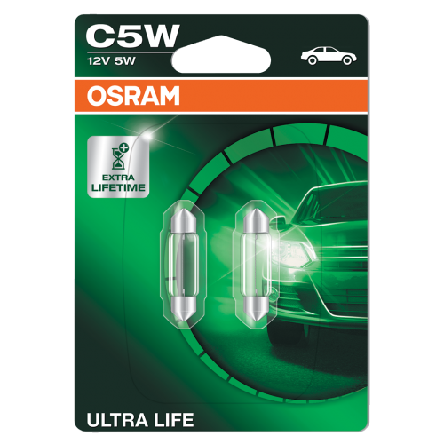 239 OSRAM Ultra Life 12V 5W C5W 38mm Number Plate & Interior Festoon Bulbs (Pair)