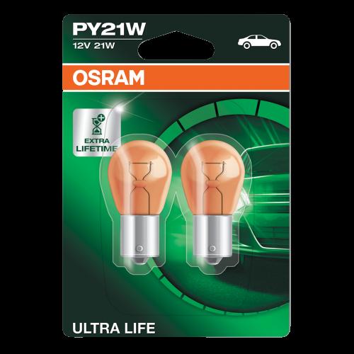 581 OSRAM Ultra Life Amber 12V 21W PY21W Indicator Bayonet Bulbs (Pair)