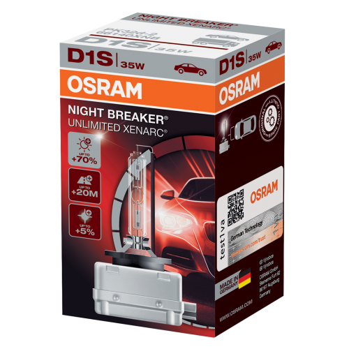 D1S OSRAM Night Breaker Unlimited Xenarc +70% 35W 4300K Xenon HID Bulb