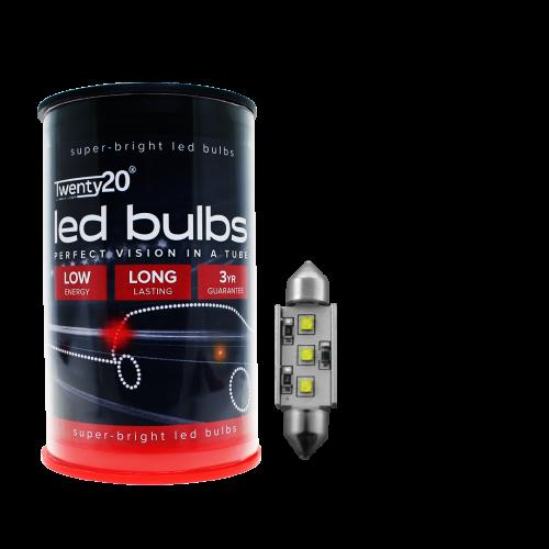 264 Twenty20 Cree LED 12V 42mm Canbus Number Plate & Interior Festoon Bulb