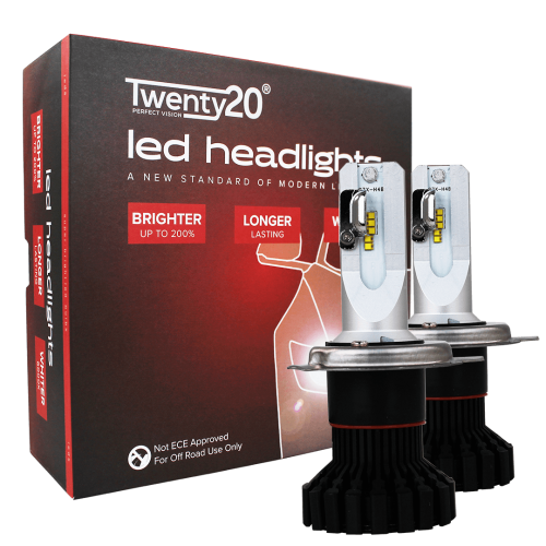 H4 Twenty20 LED 12V 60/55W Headlight Bulbs (Pair)
