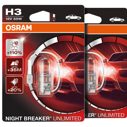h3 osram night breaker unlimited 110 upgrade xenon headlight bulbs pair. Black Bedroom Furniture Sets. Home Design Ideas