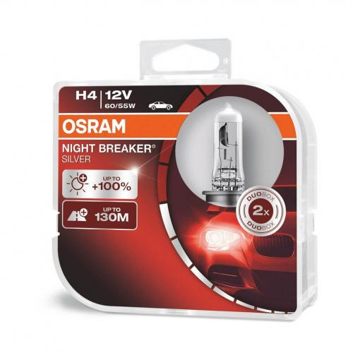 H4 OSRAM Night Breaker Silver Bulbs +100% 12V 60/55W (Pair)