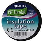 PVC Electrical Insulation Tape - 19mmx20m Roll (Black)
