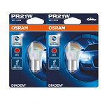 380R Osram Diadem Chrome Red 12V 21/5W PR21/5W Bayonet Bulbs (Pair)