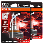 H11 OSRAM Night Breaker Unlimited +110% 12V 55W Halogen Bulbs (Pair)